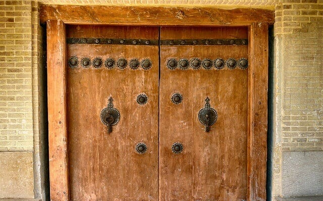 Traditional Double Knocker Door - Abyaneh Visited in Express Persia Iran Tour