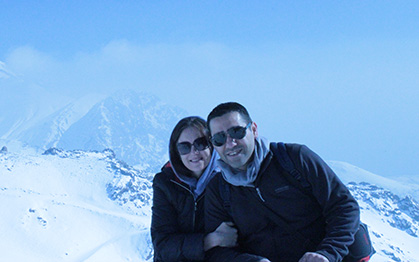 travel agents sam anoush in the snow in Iran